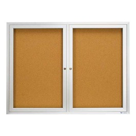 Indoor Enclosed Bulletin Board w/ Two Doors & Solid Oak Frame