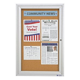 Enclosed Bulletin Board w/ One Door & Satin Aluminum Frame