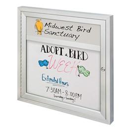 Indoor Enclosed Dry Erase Board w/ One Door & Header (3\' W x 3\' H)