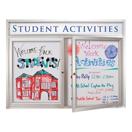 Indoor Enclosed Dry Erase Board w/ Two Doors & Header