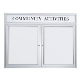 Outdoor Enclosed Dry Erase Board w/ Two Doors & Header