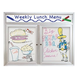 Indoor Enclosed Dry Erase Board w/ Two Doors & Header (5\' W x 3\' H)