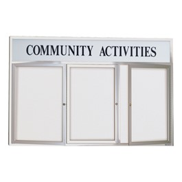 Outdoor Enclosed Dry Erase Board w/ Three Doors & Header