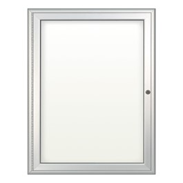 Indoor Enclosed Dry Erase Board w/ One Door - Shown w/ radius frame