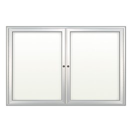 Indoor Enclosed Dry Erase Board w/ Two Doors - Shown w/ radius frame