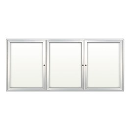 Indoor Enclosed Dry Erase Board w/ Three Doors - Shown w/ radius frame