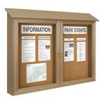 Double-Door Corkboard Outdoor Message Center
