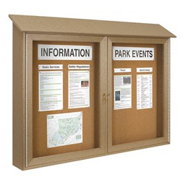 Double-Door Corkboard Outdoor Message Center