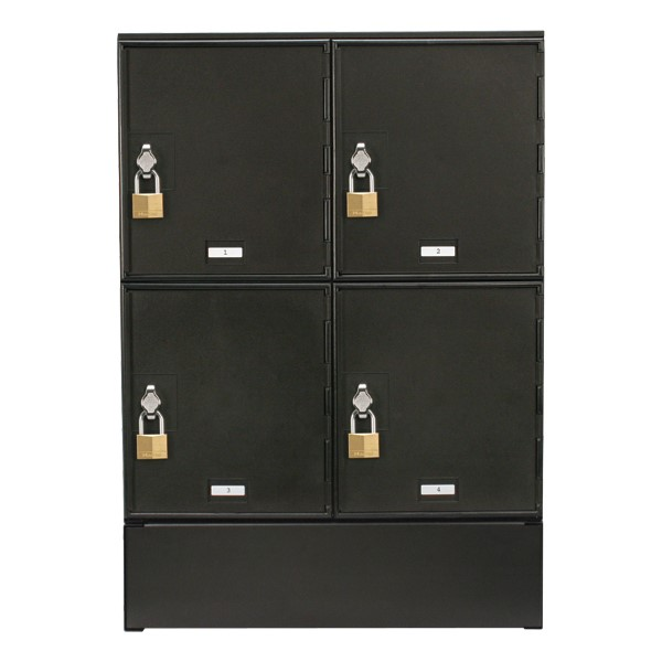 Cell Phone & Laptop Lockers - 4 Lockers<br>Shown w/ optional base<br>Lock not included