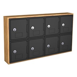 Cell Phone Lockers w/ Wood Frame - Eight Lockers w/ Keyed Lock (Light Oak)