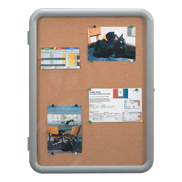 Enclosed Bulletin Board w/ Image Radius Frame - Shown w/ gray frame