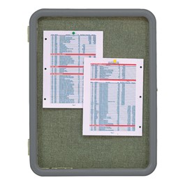 Enclosed Fabric Tack Board w/ Image Radius Frame - Shown w/ gray frame & blue spruce fabric