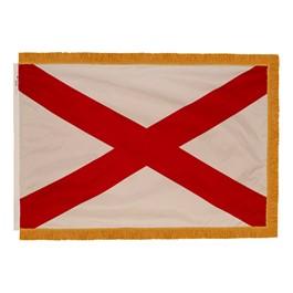 Alabama State Flag w/ Crowned Gold Fringe