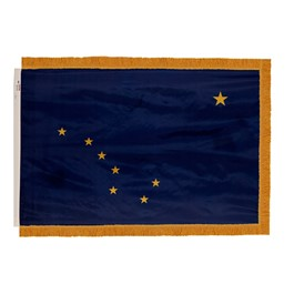 Alaska State Flag w/ Crowned Gold Fringe