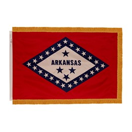 Arkansas State Flag w/ Crowned Gold Fringe
