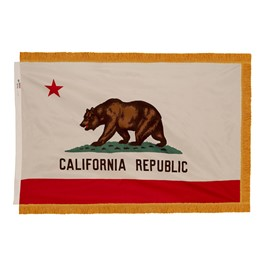 California State Flag w/ Crowned Gold Fringe