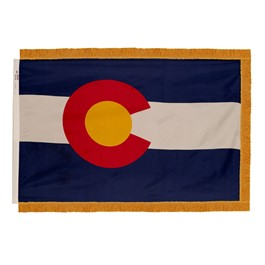Colorado State Flag w/ Crowned Gold Fringe
