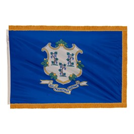Connecticut State Flag w/ Crowned Gold Fringe