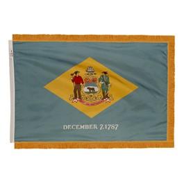 Delaware State Flag w/ Crowned Gold Fringe