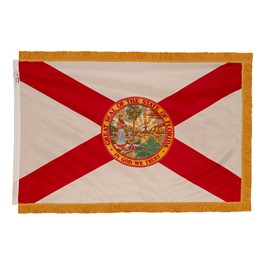 Florida State Flag w/ Crowned Gold Fringe