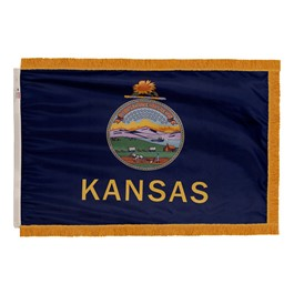 Kansas State Flag w/ Crowned Gold Fringe