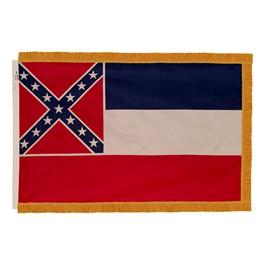 Mississippi State Flag w/ Crowned Gold Fringe