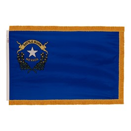 Nevada State Flag w/ Crowned Gold Fringe