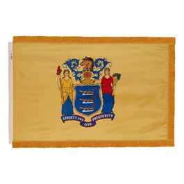 New Jersey State Flag w/ Crowned Gold Fringe