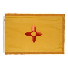 New Mexico State Flag w/ Crowned Gold Fringe