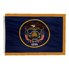 Utah State Flag w/ Crowned Gold Fringe