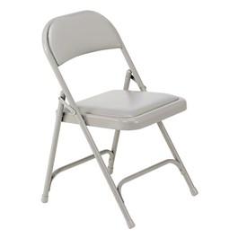 168 Series Vinyl-Upholstered Folding Chair - Silver Mist vinyl w/ Silver Mist frame