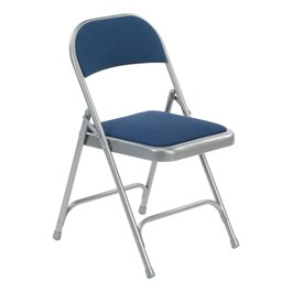 188 Series Fabric-Upholstered Folding Chair - Sedona Sailor fabric w/ Silver Mist frame