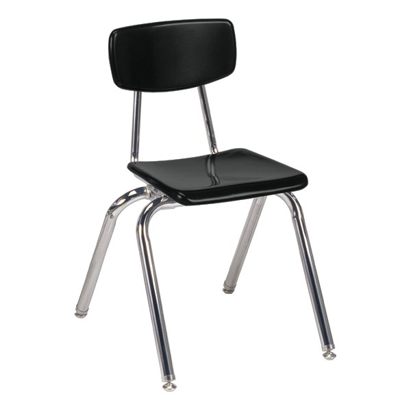 "3000 Series Solid Plastic School Chair - 16"" Seat Height - Black"