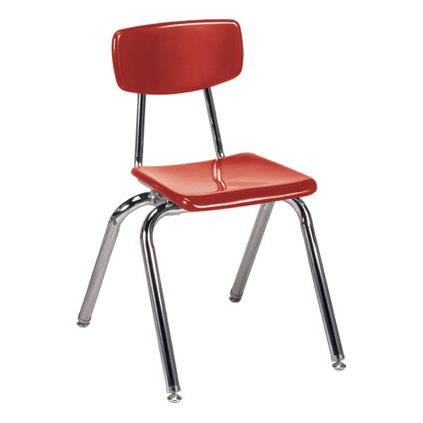 "3000 Series Solid Plastic School Chair - 16"" Seat Height - Red"