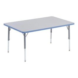 """Rectangle Activity Table (30\"""" W x 48\"""" L) - Blueberry edge band & swivel glides"""