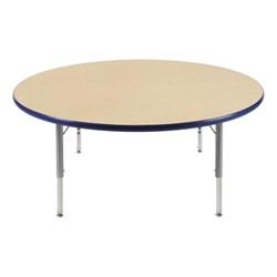"Round Preschool Activity Table (48"" Diameter) - Navy edge band & swivel glides"