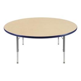"Round Preschool Activity Table (48\"" Diameter) - Navy edge band & swivel glides"