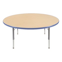 "Round Preschool Activity Table (48"" Diameter) - Blueberry edge band & swivel glides"