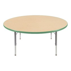 "Round Preschool Activity Table (48"" Diameter) - Cucumber edge band & swivel glides"