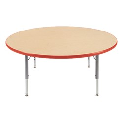 "Round Preschool Activity Table (48"" Diameter) - Red edge band & swivel glides"