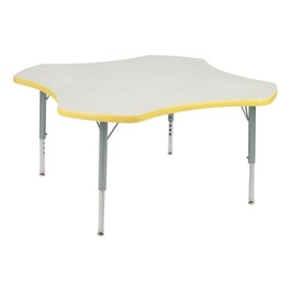 "Clover Preschool Activity Table (48"" Diameter) - Squash edge band & swivel glides, Gray Nebula top, Silver Mist legs"