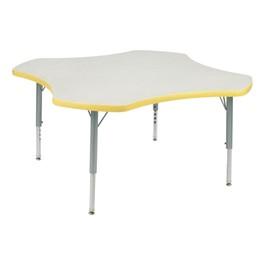 "Clover Preschool Activity Table (48\"" Diameter) - Squash edge band & swivel glides, Gray Nebula top, Silver Mist legs"