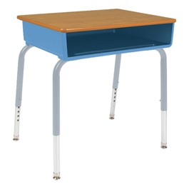785 Series Open Front School Desk w/ Book Box - Shown w/ blueberry plastic book box