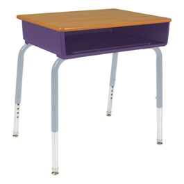 785 Series Open Front School Desk - Shown w/ purple plastic book box