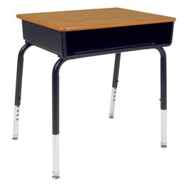 785 Series Open Front School Desk - Metal Book Box - Solid Plastic Top