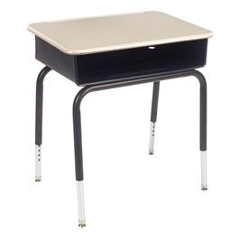 785 Series Open Front School Desk - Sandstone Desktop w/ Black Frame & Black Metal Book Box