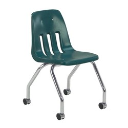 9050 Mobile Teacher Chair w/ Soft Plastic Seat & Back - Forest Green
