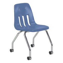 9050 Mobile Teacher Chair w/ Soft Plastic Seat & Back - Blueberry