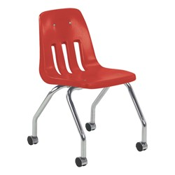 9050 Mobile Teacher Chair w/ Soft Plastic Seat & Back - Red