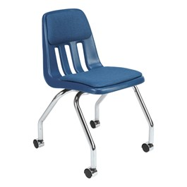 9050 Mobile Teacher Chair - Navy w/ upholstered seat & back